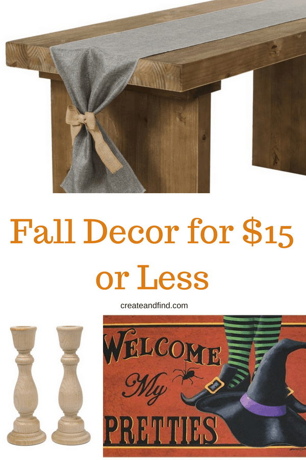 Fall decor for $15 or less. You don't have to spend a lot of money to add some festive fall fun to your house #createandfind #falldecorating #falldecor #cheapfalldecor