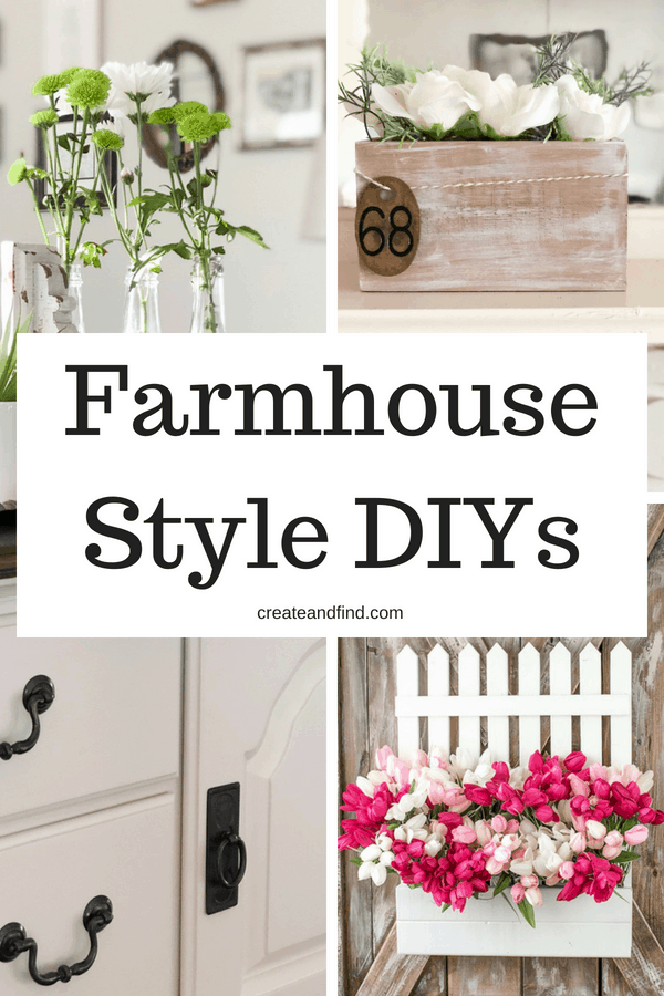 Farmhouse Decor DIY ideas - add some farmhouse charm to your house! DIY Projects to give your house some farmhouse style #createandfind #diyprojects #farmhousestyle #farmhouse #rusticdecor