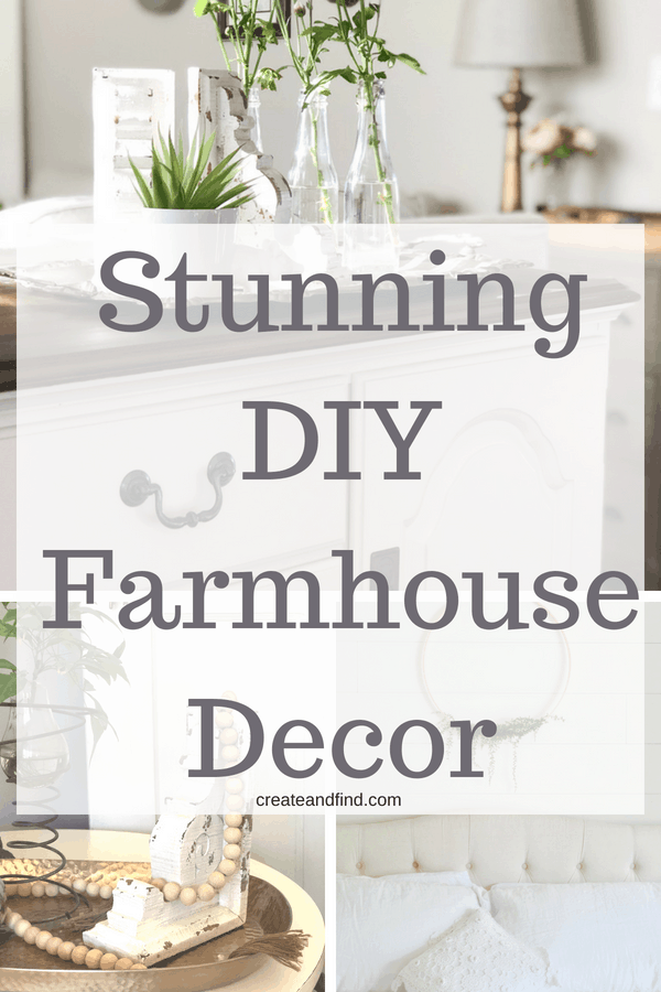 Stunning farmhouse decor DIY ideas for inspiration. Add your own rustic farmhouse style with these DIY projects #createandfind #diyprojects #farmhousestyle #farmhousedecor