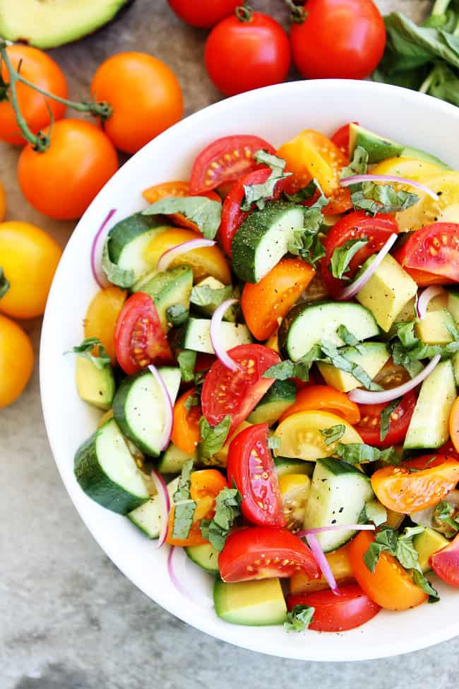 Salads - tomato cucumber avocado